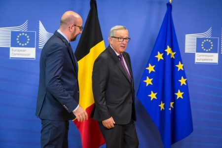 Belgian Prime Minister Charles Michel and European Commission President Luxembourg Jean-Claude Juncker (EPP) pictured before a meeting between the Belgian Prime Minister and the European Commission President, Thursday 01 September 2016, in Brussels. BELGA PHOTO AURORE BELOT
